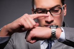 The businessman in time management concept Stock Image