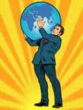 Businessman Titan Atlas holds the Earth. Businessman the Titan Atlas holds the Earth on his shoulders pop art retro style. Images of ancient myths in business royalty free illustration