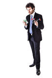 Businessman with a tnt molecule and money Royalty Free Stock Photo