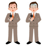 Businessman to be tension in the speech. Vector illustration.Original paintings and drawing Stock Photo