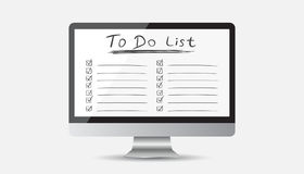 Businessman to do list, checklist with computer. Check list icon Royalty Free Stock Photo