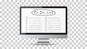 Businessman to do list, checklist with computer. Check list icon Royalty Free Stock Photos