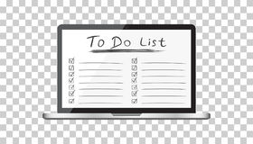 Businessman to do list, checklist with laptop computer. Check li Royalty Free Stock Photos
