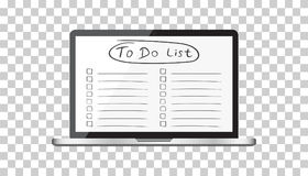 Businessman to do list, checklist with laptop computer. Check li Stock Photos