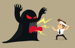 Businessman to fight the devil problems and obstacles. Vector Royalty Free Stock Image