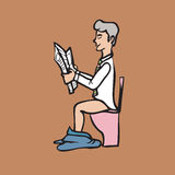Businessman in toilet Stock Photo