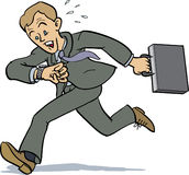 Businessman too late. Businessman running as if he is too late for an appointment vector illustration