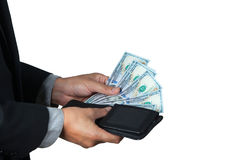 The businessman took dollar out of his wallet Royalty Free Stock Photo