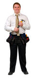 Businessman with Tool Belt and Hammer Stock Image