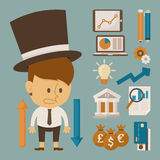 Businessman and tool character , flat design Royalty Free Stock Images