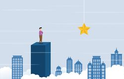 Businessman on Top of Building Thinking How to Reach Target with Obstacle Business Concept Illustration.  stock illustration