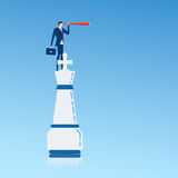 Businessman on top of king chess piece using telescope looking for success, opportunities, future business trends. Successful business strategy concept stock illustration