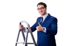 The businessman at top of ladder isolated on white background Stock Image