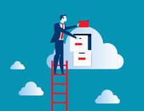 Businessman on top of ladder putting file in cloud  filing cabin. Businessman standing  on ladder and putting file. Concept business data illustration. Vector Stock Photos