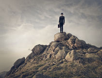 Businessman on the top. Of a mountain Stock Photo