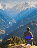 Businessman at the top of mountain Royalty Free Stock Image