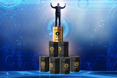 The businessman on top of oil barrels Royalty Free Stock Photo