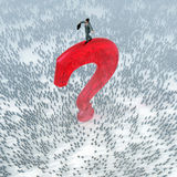 Businessman on a top of question mark stock illustration