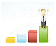 Businessman is on the Top result. Vector illustration of a businessman is on the highest result by standing on the top of  bar chart Royalty Free Stock Photo