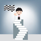 Businessman on top stair and winner finish flag in hand, illustration vector in flat design. Businessman on top stair and winner finish flag in hand Royalty Free Stock Images
