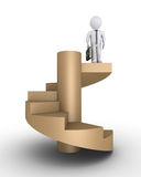 Businessman on top of stairs. Businessman is standing on the top of a staircase Royalty Free Stock Image