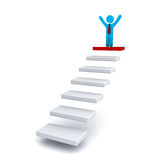 Businessman on the top of steps or stair over white Stock Images