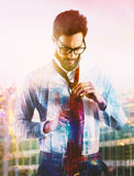 Businessman at the top Stock Images