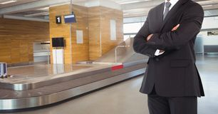 Businessman Torso against a airport background Royalty Free Stock Photo