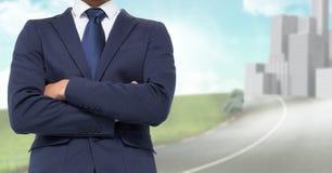 Businessman Torso against a city background Stock Images