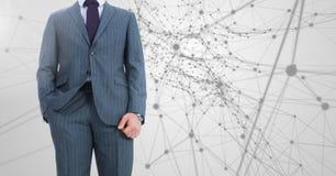 Businessman Torso against digital background Stock Photos