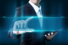 Businessman touch blue lighting blank space for your text in cop. Y space Royalty Free Stock Image