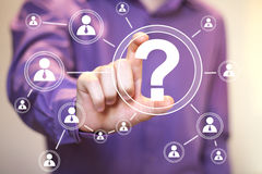 Businessman touch button interface question communication Royalty Free Stock Images