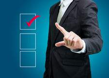Businessman touch checking mark checklist marker Isolated Royalty Free Stock Photography