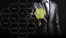 Businessman touch IT consultant presenting tag cloud about information. Technology royalty free stock images