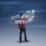 Businessman touch digital picture on blue world map royalty free stock images