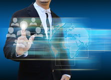 Businessman touch  icon of social network Royalty Free Stock Photo