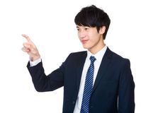 Businessman touch on imaginary panel Royalty Free Stock Images