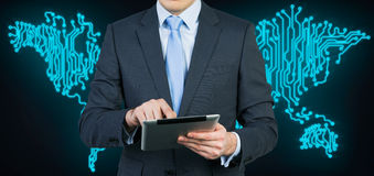Businessman with  touch pad Stock Photography