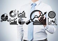 Businessman touch schem Stock Images