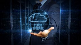 Businessman touch screen with cloud hologram stock images