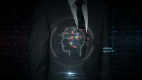 Businessman touch screen with data management hologram. A businessman in a suit touch the screen with artificial intelligence hologram. Man using hand on virtual stock video footage