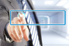 Businessman touch screen stock images