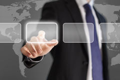 Businessman touch screen. Businessman pushing button on virtual interface stock exchange Stock Image