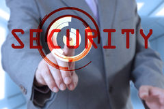 Businessman touch screen security stock photography