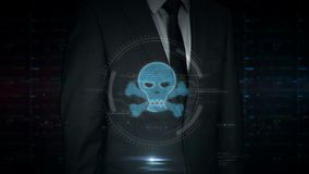 Businessman touch screen with skull hologram. A businessman in a suit touch the screen with pirate skull symbol hologram. Man using virtual display interface stock video