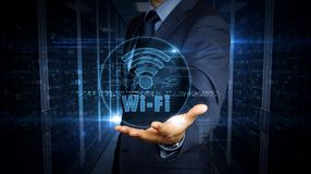 Businessman touch screen with wi-fi hologram. A businessman in a suit touch the screen with wi-fi symbol hologram. Man using virtual display interface. Wi fi royalty free stock images