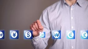 Businessman touch Shekel icons stock footage