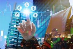Free Businessman Touch Virtual Currency Royalty Free Stock Image - 114794056