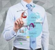 Businessman touching analytics Royalty Free Stock Photo