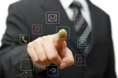 Businessman touching application button on virtual screen, futur Stock Photo